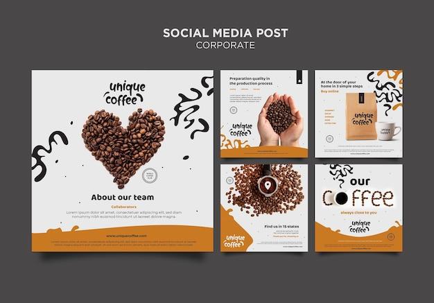 Coffeeshop sociale media post sjabloon Gratis Psd