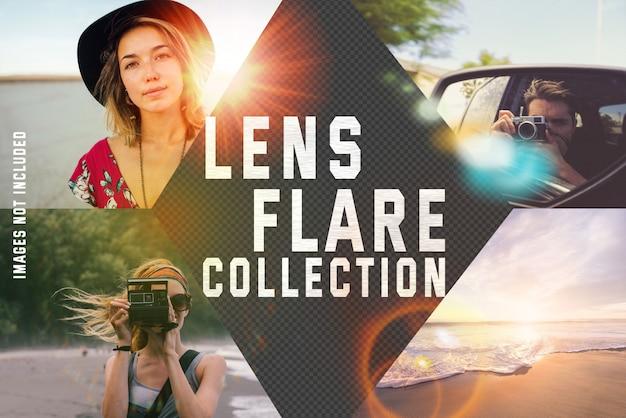 Colección de destello de lente sobre fondo transparente PSD gratuito