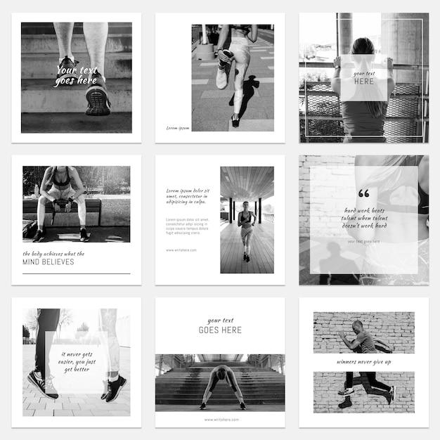 Colección floral de posts de instagram PSD gratuito