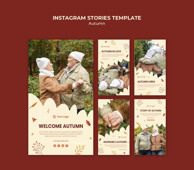 Colección de historias de instagram para dar la bienvenida a la temporada otoñal PSD gratuito