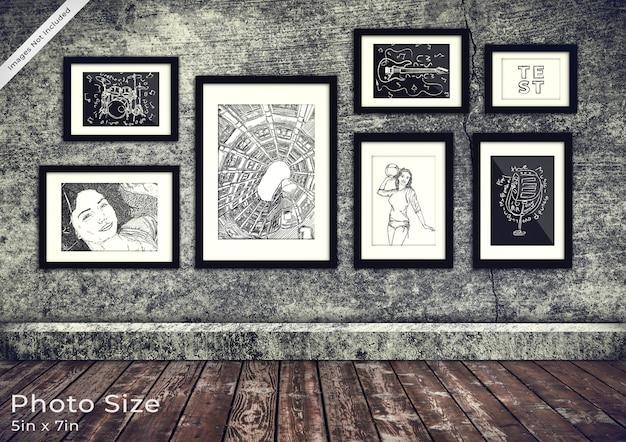 Colección de marcos de cuadros en una habitación de grunge 3d PSD Premium