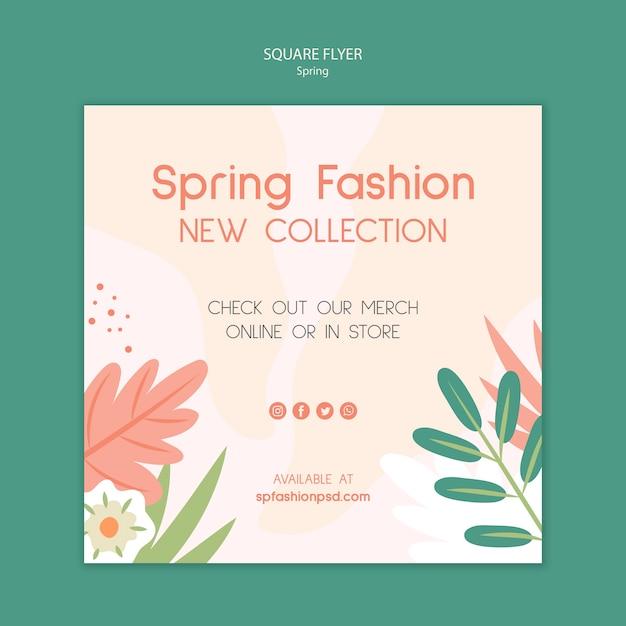 Colección de moda de primavera flyer cuadrado PSD gratuito