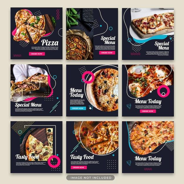 Colección de plantillas de post de pizza psd PSD Premium
