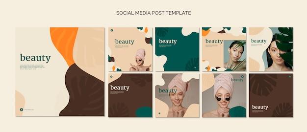 Colección plantillas de post de redes sociales de belleza PSD gratuito