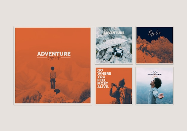 Colección de plantillas de tarjetas con concepto de aventura PSD gratuito