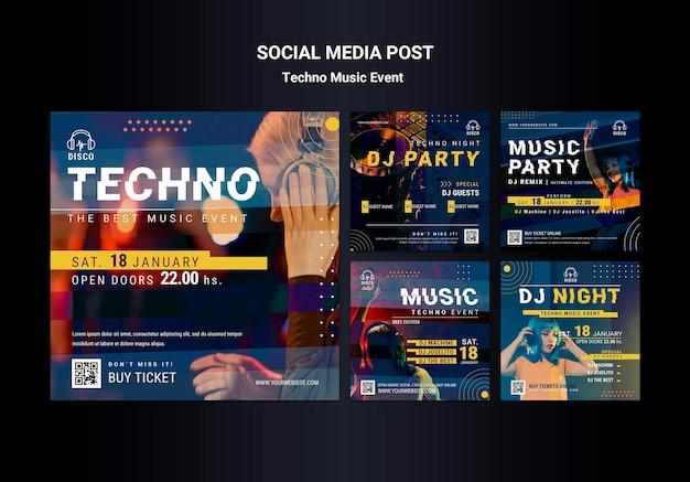 Colección de publicaciones de instagram para la fiesta nocturna de música techno PSD gratuito