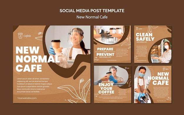 Colección de publicaciones de instagram para el nuevo café normal PSD gratuito
