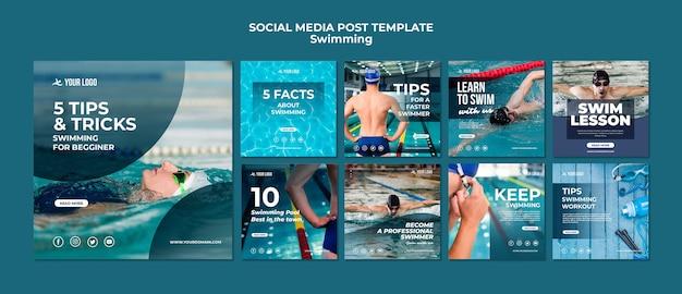 Colección de publicaciones en redes sociales para clases de natación PSD gratuito