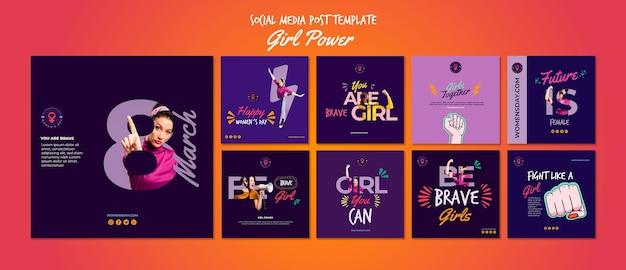 Colección de publicaciones en redes sociales para el día de la mujer PSD gratuito