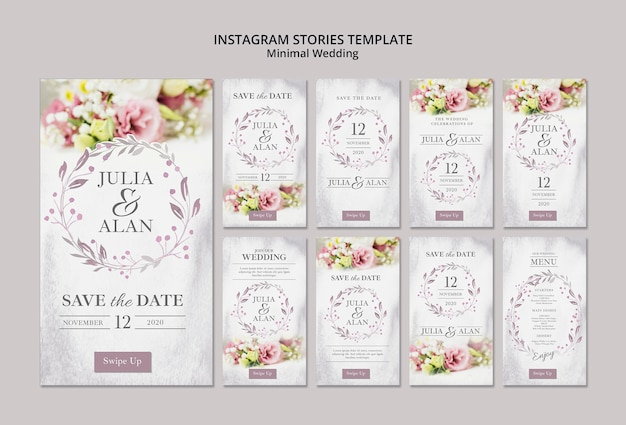 Collage van bloemen minimaal huwelijk instagram verhalenmalplaatje Gratis Psd