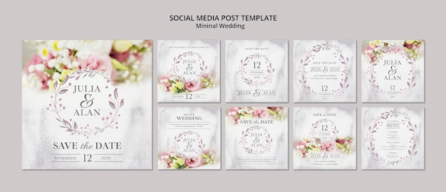 Collage van bloemen minimale bruiloft sociale media post sjabloon Premium Psd