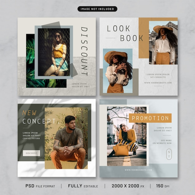 Collezione di modelli di moda post Psd Premium