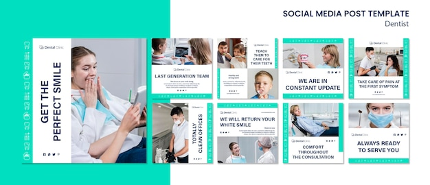 Collezione di post social media dentista Psd Gratuite