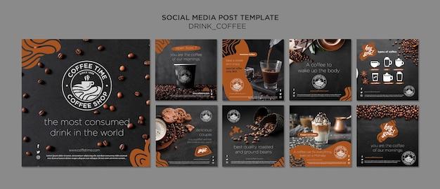 Collezione post instagram caffè Psd Gratuite