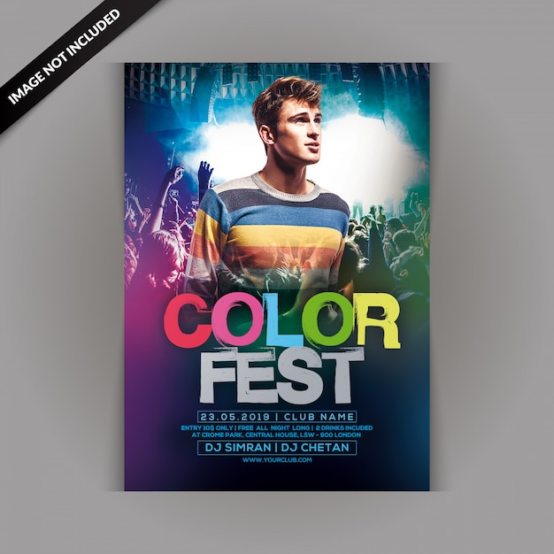 Color fest party flyer PSD Premium