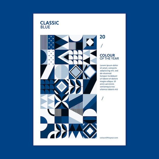 Colore del poster geometrico dell'anno 2020 Psd Gratuite