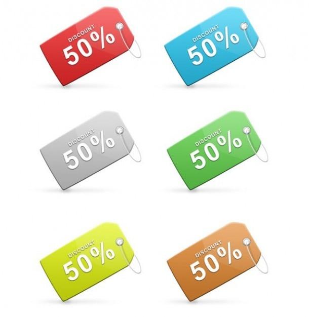 coloridas etiquetas de descuento de venta establecidas psd Psd Gratis