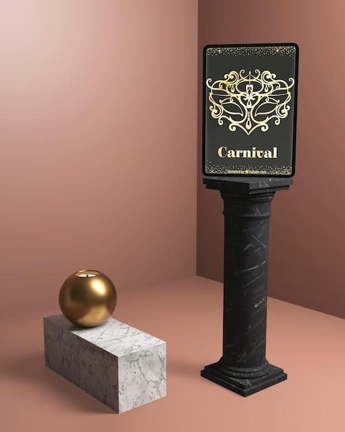 Columnas minimalistas negras con maqueta de fiesta de carnaval PSD gratuito