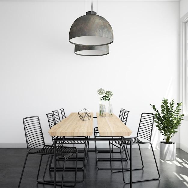 Comedor moderno, luminoso y realista con mesa y sillas de madera PSD gratuito