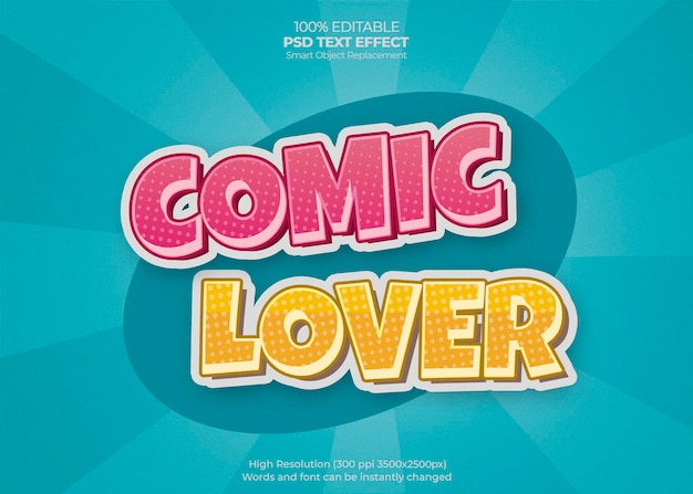 Comic lover text effect Gratis Psd