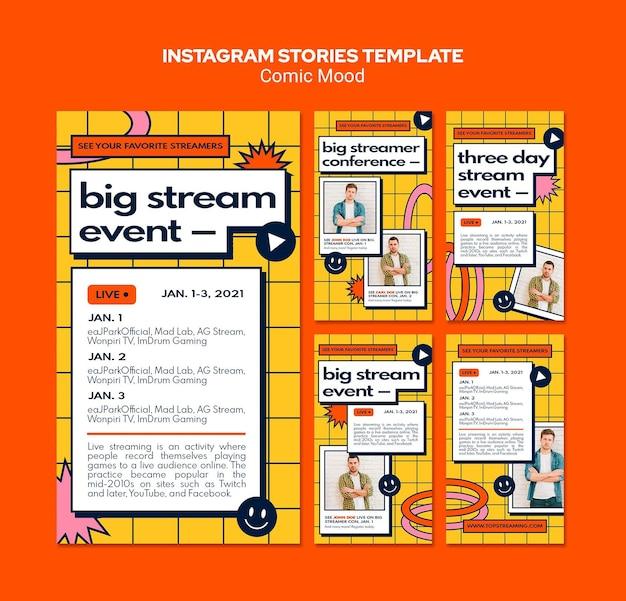 Comic mood instagram verhalen sjabloon Premium Psd