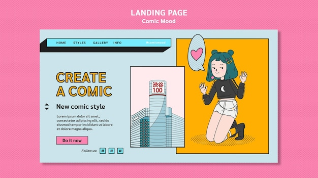 Comic ontwerp bestemmingspagina sjabloon Premium Psd