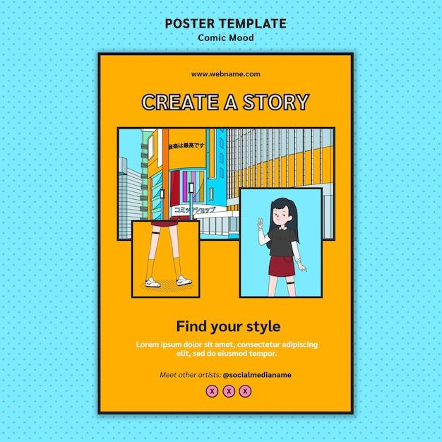 Comic poster ontwerpsjabloon Gratis Psd