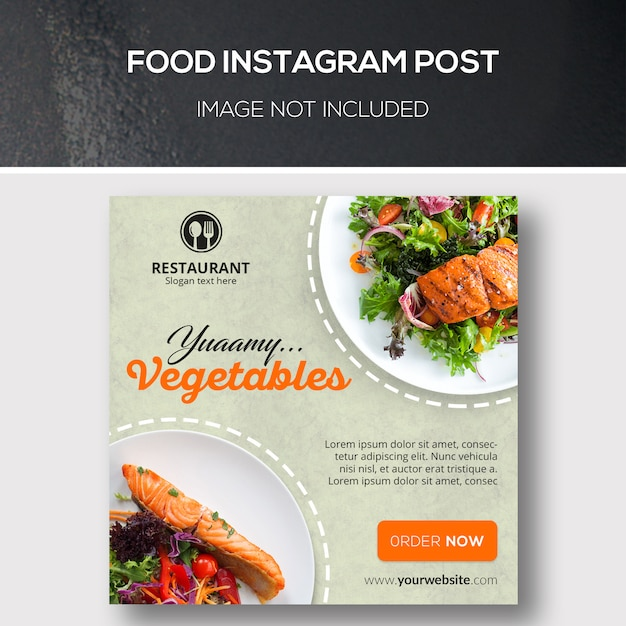 Comida instagram post PSD Premium