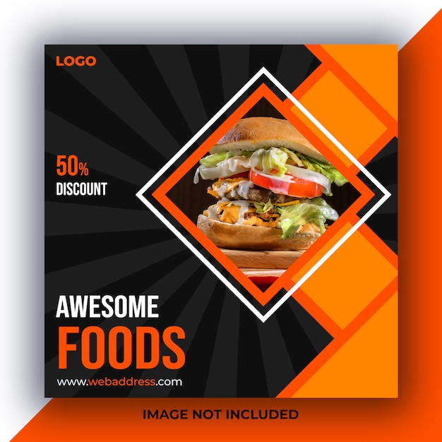 Comida en las redes sociales. PSD Premium