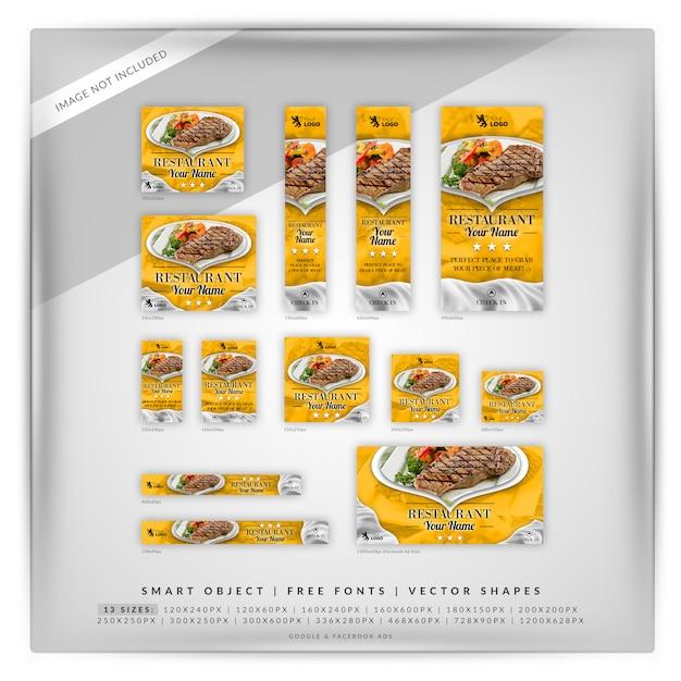Comida y restaurante google banner set PSD Premium