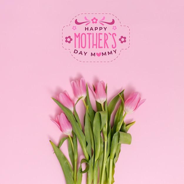 Composición flat lay para el día de la madre con copyspace para logo PSD gratuito