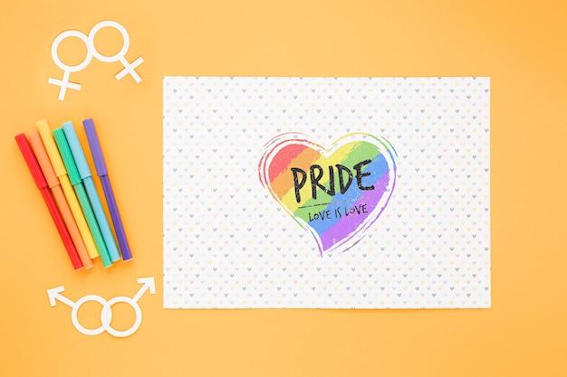 Composizione di orgoglio lgbt piatto con modello di carta Psd Gratuite