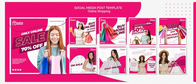 Comprar publicaciones en redes sociales en línea PSD gratuito