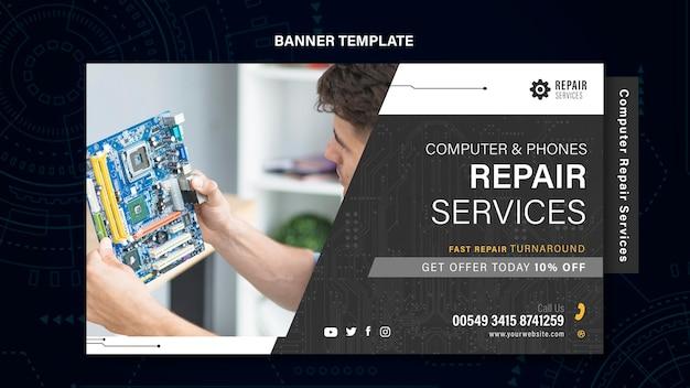 Computer en telefoons reparatie banner Gratis Psd