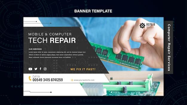 Computer en telefoons reparatie banner Premium Psd