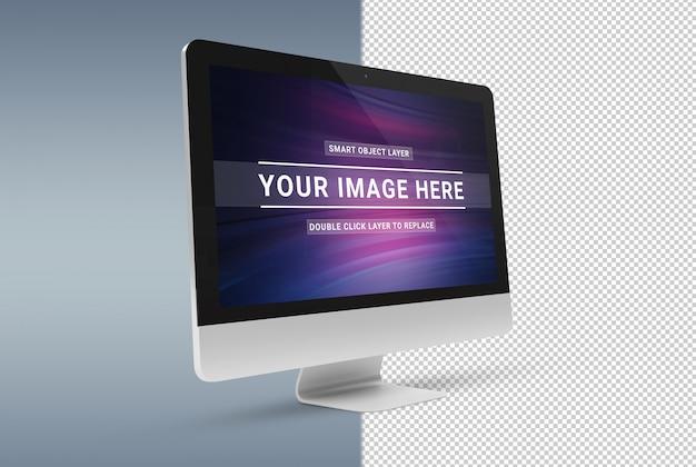 Computer moderno tagliato isolato con il modello dell'ombra Psd Premium