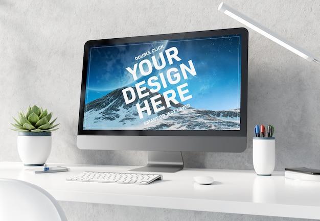 Computer op witte desktop interieur mockup Premium Psd