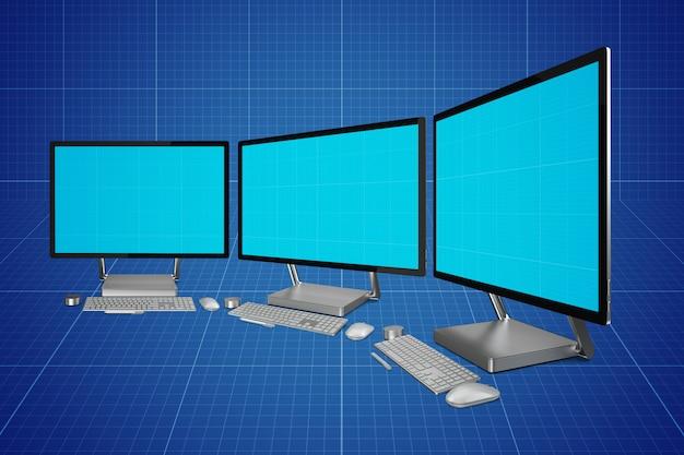 Computerschermen mockup Premium Psd