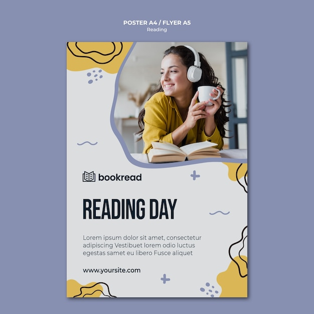 Concept flyer sjabloon lezen Gratis Psd