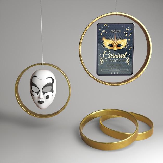 Concepto abstracto de fiesta de carnaval enmascarado y anillos de oro PSD gratuito