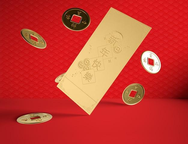 Concepto de año nuevo chino con monedas de oro PSD gratuito