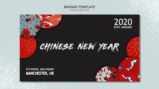 Concepto de banner para año nuevo chino PSD gratuito