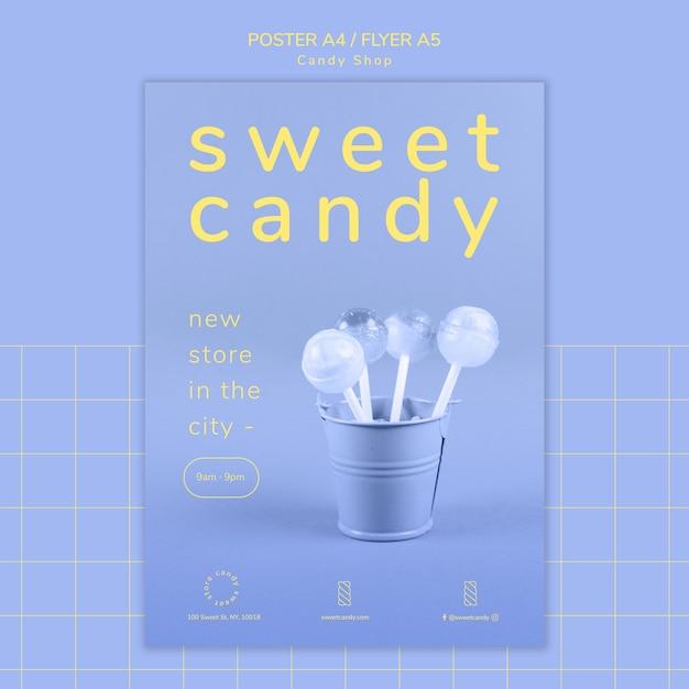 Concepto de cartel para plantilla de tienda de dulces PSD gratuito