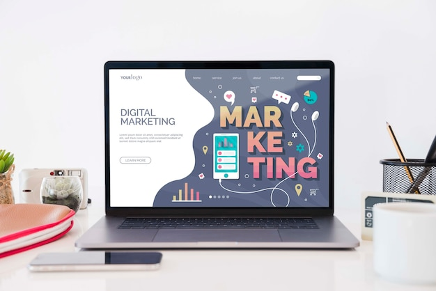 Concepto de escritorio de marketing digital PSD Premium