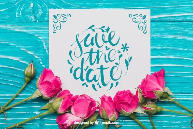 Concepto floral de boda PSD gratuito