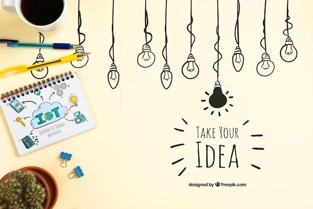 Concepto de idea con notebook PSD gratuito