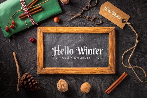 Concepto de invierno con maqueta de marco PSD gratuito