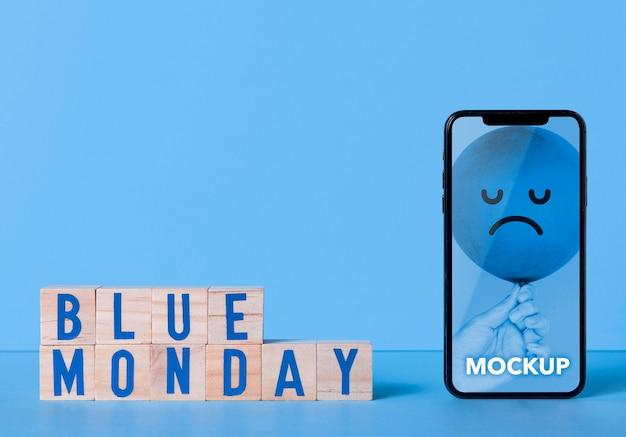 Concepto de lunes azul con maqueta PSD gratuito