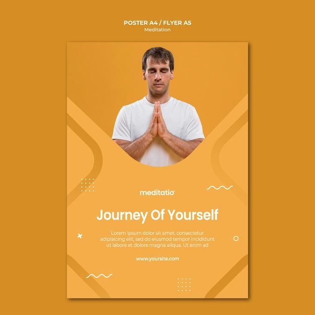 Concepto de meditación de diseño de carteles PSD gratuito
