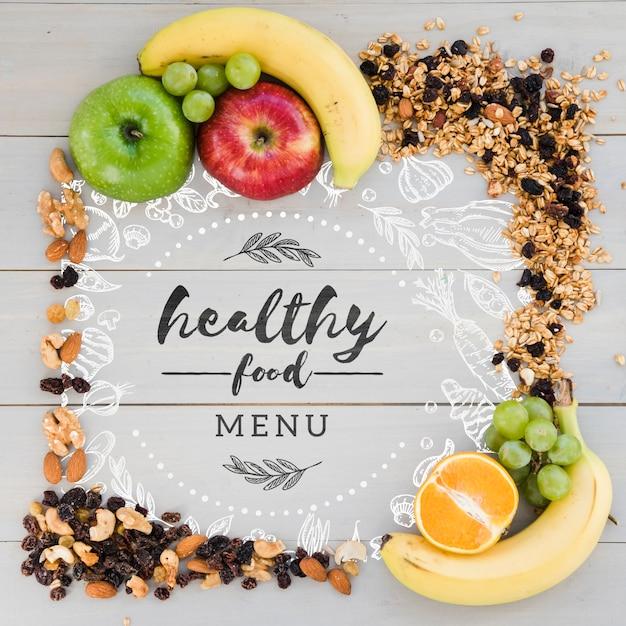 Concepto de menú de comida sana con espacio de copia PSD gratuito